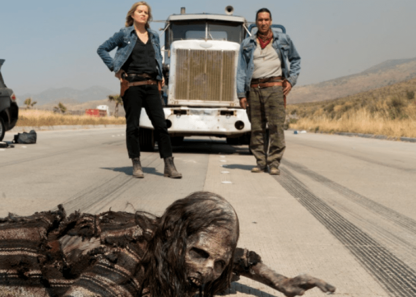 Kim Dickens as Madison Clark and Michael Greyeyes as Qaletqa Walker with a zombie in the Fear The Walking Dead Midseason Premiere