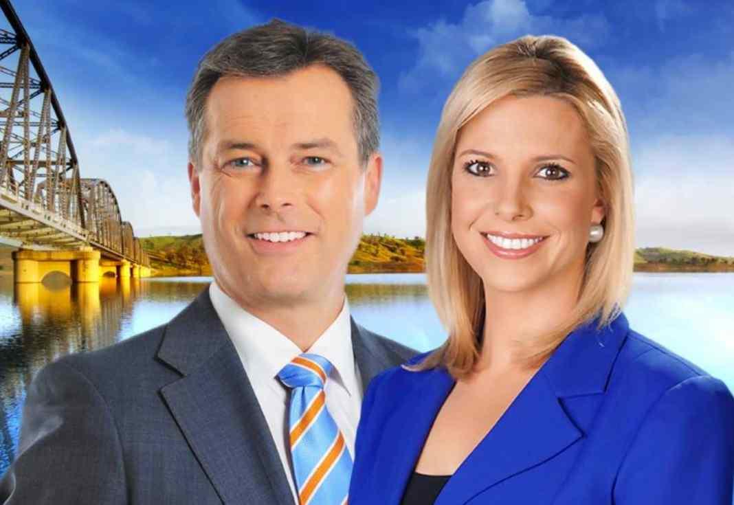 WIN News presenter Bruce Roberts and Amy Duggan (image - WIN)