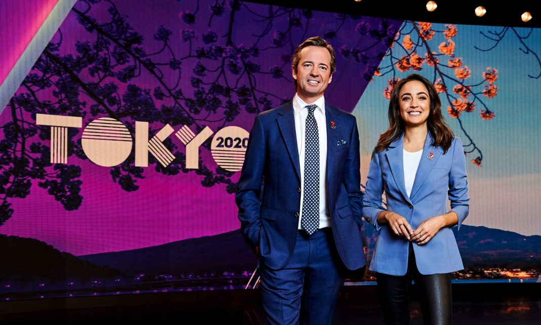 Olympic Games hosts Hamish McLachlan and Abbey Gelmi (image - Channel 7)
