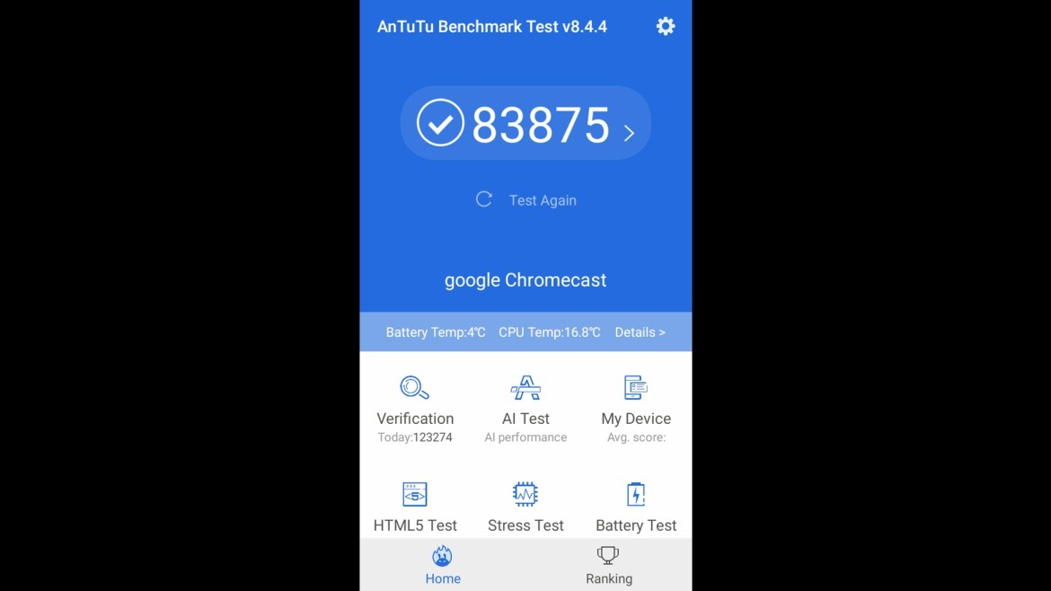 Chromecast with Google TV Antutu benchmark