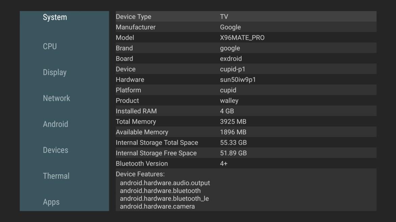 X96 Mate system info