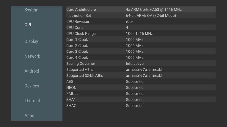 Xiaomi Mi TV stick CPU info