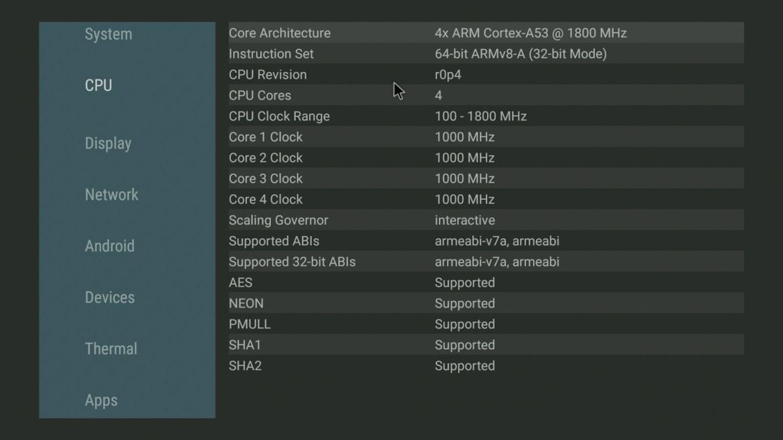 TiVo Stream 4K CPU info