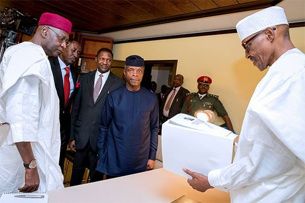 Buhari officially resumes work at home