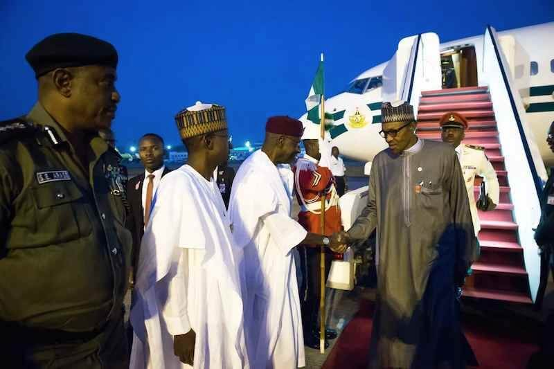 Image result for Buhari returns to Abuja after two-day trip to Morocco