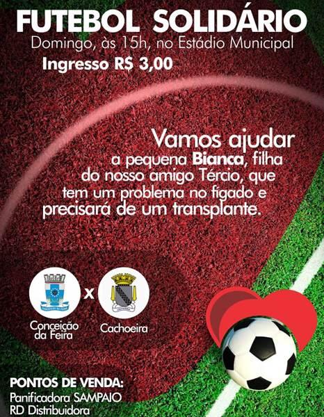 Futebol Solidário em prol da Bianca acontecerá neste domingo, 29 de janeiro, em Conceição da Feira