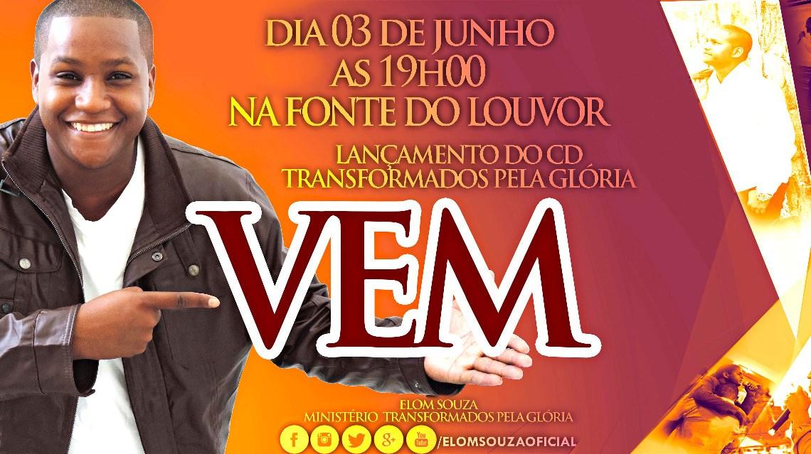 Cantor Elom Souza ganha disco de ouro em lançamento do seu CD Transformados Pela Glória