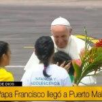 Papa Francisco llegó a Puerto Maldonado para reunirse con los pueblos de la Amazonía