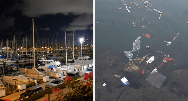 Wakiki Yacht Club at night and in reality