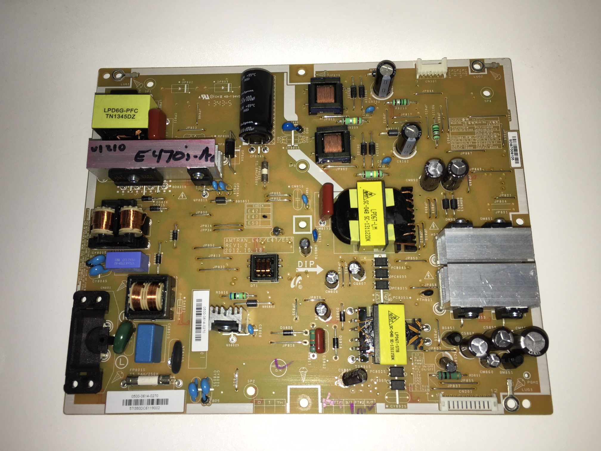Vizio 0500-0614-0270 (PSLF141401M) Power Supply / LED Board for E470i-A0