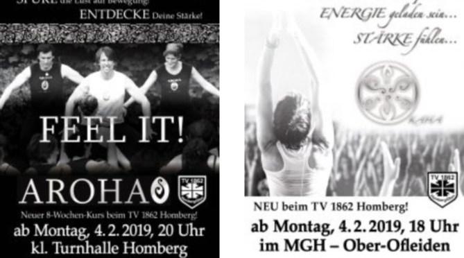 Neue Kurse 2019, AROHA und KAHA bei Deinem Sportverein – TVH
