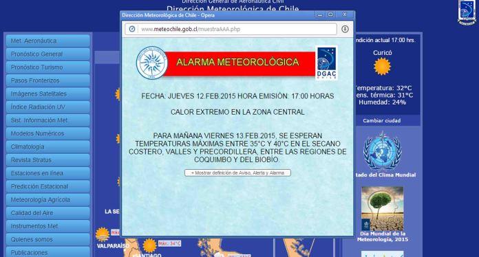 alerta meteorologia de chile