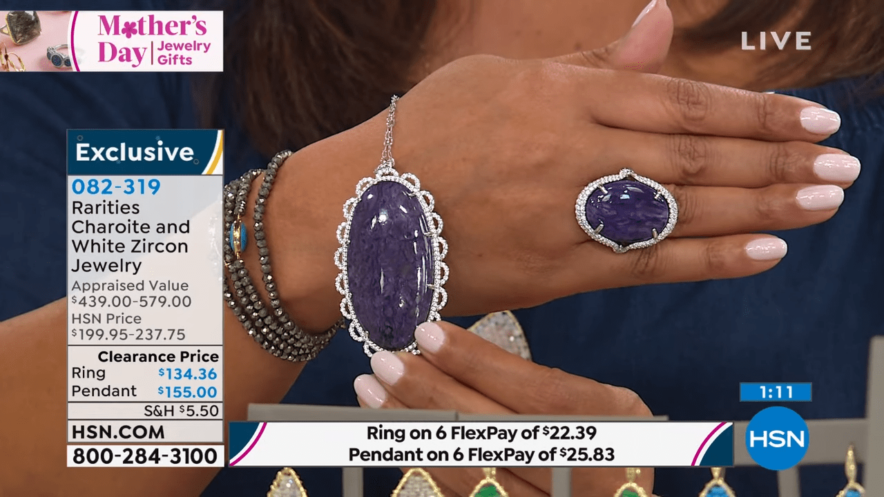Rarities RhodiumPlated Charoite and White Zircon Oval Ri... 1-42 screenshot
