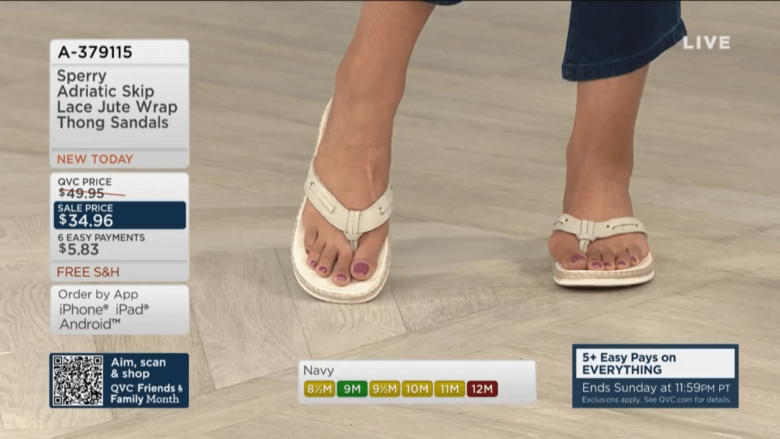 Feet of QVC host Courtney Webb in Sperry thong sandals.