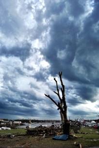 Threatening weather over tornado-ravaged Joplin, MO