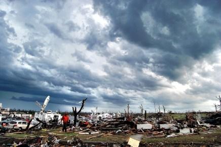 Television news satellite trucks covering the Joplin disaster