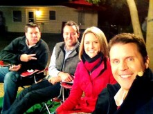 Rick, John, Kristin and Mark during a break in Tulsa's Channel 8's pre-game show