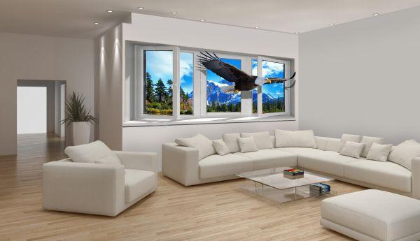 3Д обои на стену: фото для гостиной в квартире ...