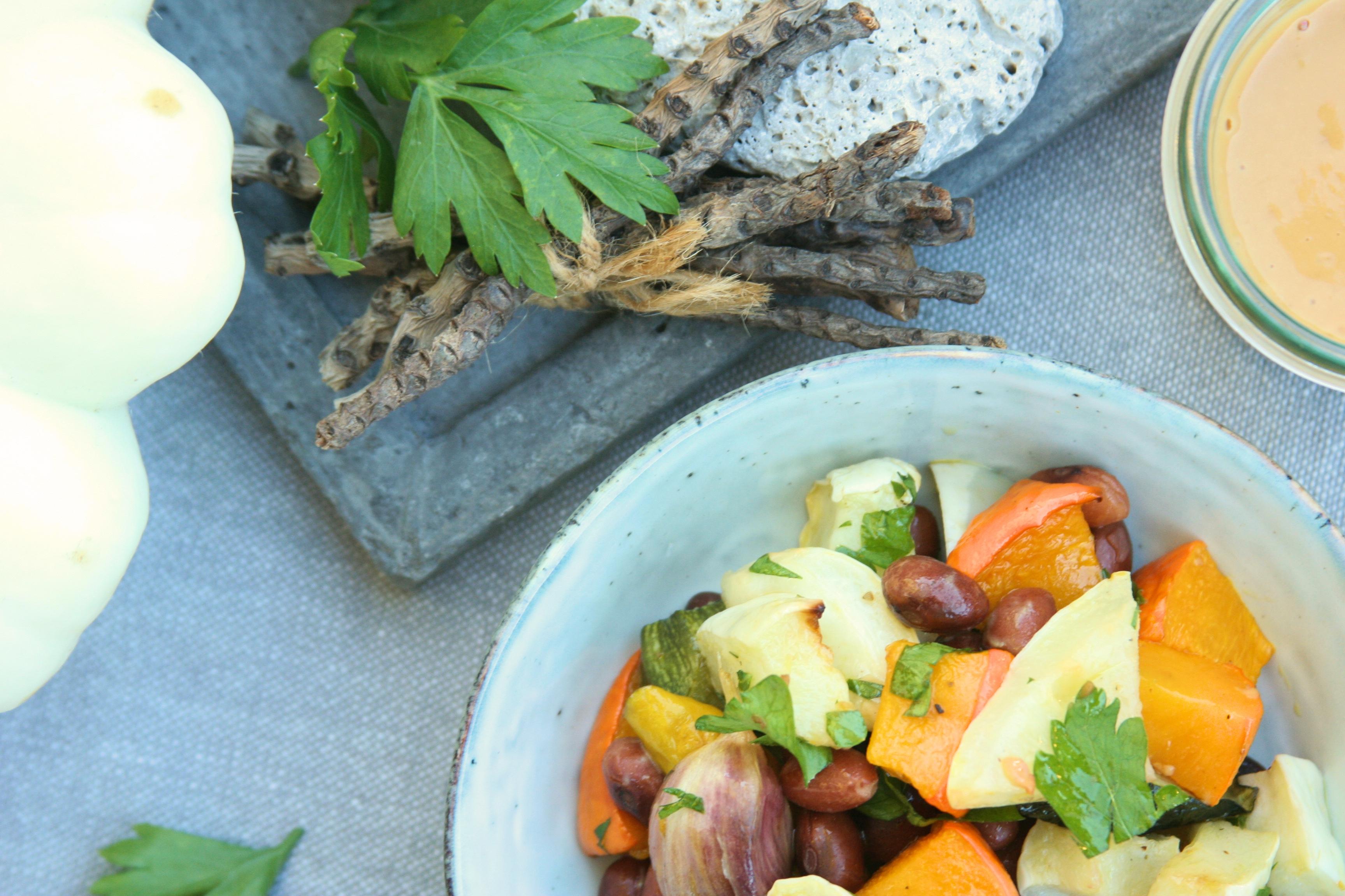 Pečená zelenina s miso dresingem