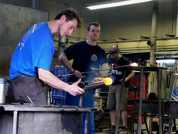 Blowing glass by hand. Nova Scotia Crystal (now closed)