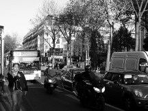 Even more traffic in Paris during a transport strike. Bl. Clichy, Montmartre