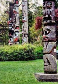 Totem poles by the Royal BC Museum, Victoria