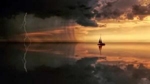 boat facing storm