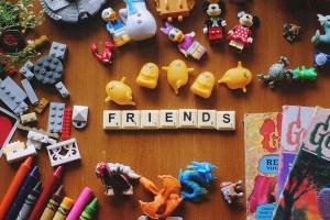 scrabble letters spelling friends