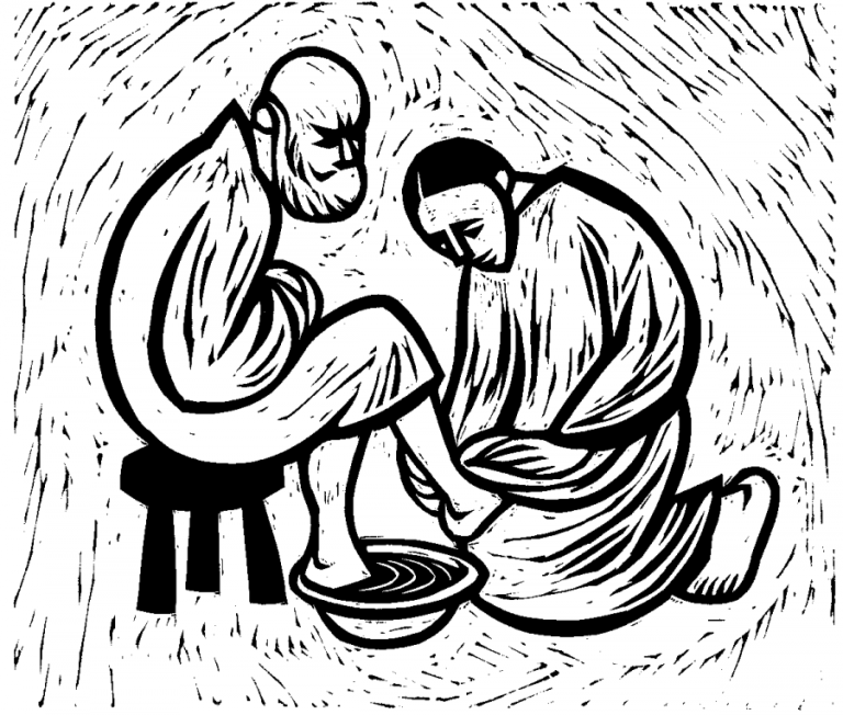 Jesus washing disciple's feet