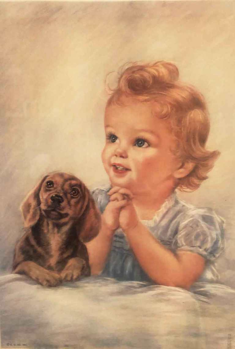 little girl with dog praying