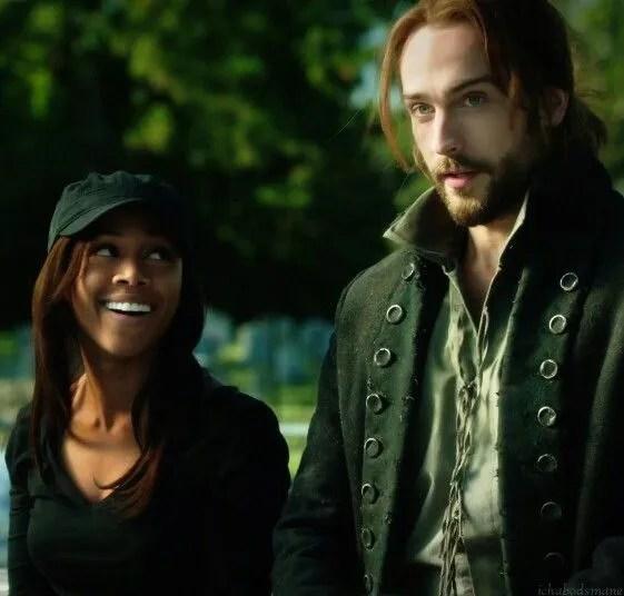 Abbie Mills (Nicole Beharie) and Ichabod Crane (Tom Mison) at a ballgame on Sleepy Hollow