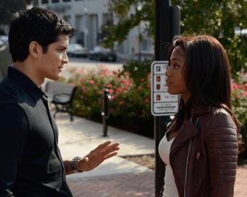 "Abbie talks to her ex-boyfriend Luke Morales on the Sleepy Hollow episode ""Midnight Ride"""