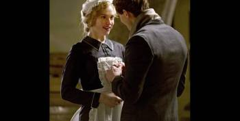 Lady Rose dresses up as a maid on Downton Abbey