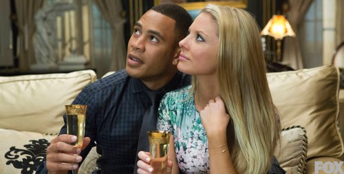 Andre and Rhonda drink champagne on Empire