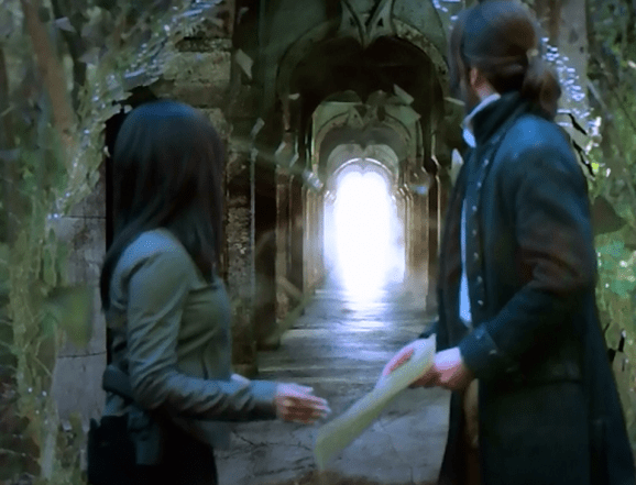 """Ichabod and Abbie prepare to enter Purgatory via a portal in the """"Bad Blood"""" episode of Sleepy Hollow"""