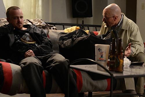 "Jesse Pinkman (Aaron Paul) and Walter White (Bryan Cranston) - Breaking Bad_Season 5, Episode 9_""The Decision"" - Photo Credit: Ursula Coyote/AMC"