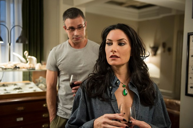 (L to R) Freddie Prince Jr. and Mädchen Amick star in an all-new episode of Witches of East End, airing Sunday, October 27, at 10pm ET/PT on Lifetime. Photo by Diyah Pera