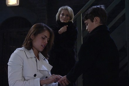 Britt (Kelly Thiebaud) shares a heartbreaking goodbye with Spencer as Helena (Constance Towers) watches on. Photo courtesy ABC.