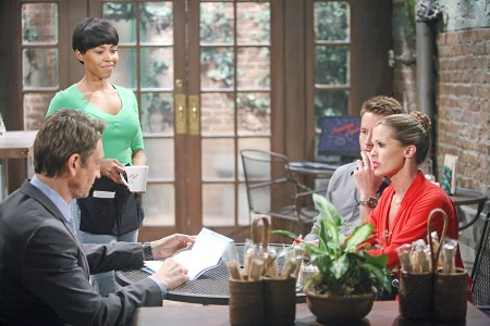 Chelsea (Melissa Claire Egan) and Adam ( Justin Hartley) consult their attorney (Robert Gant) after Victor's latest power play. Photo Credit: © Sean Smith/jpistudios.com