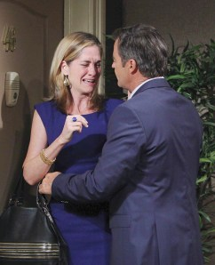 Eve (Kassie DePaiva) seeks comfort from Justin (Wally Kurth). Photo Credit: © Howard Wise/jpistudios.com