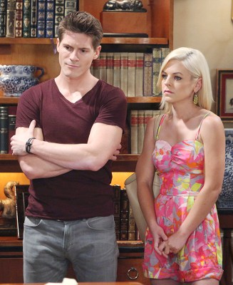 Dillon (Robert Palmer Watkins) and Maxie (Kristen Storms) discuss a problem with Paul and Tracy. Photo Credit: © Howard Wise/jpistudios.com