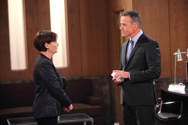 Tracy (Jane Elliot) wonders what Paul (Richard Burg) is up to. Photo Credit: © Howard Wise/jpistudios.com