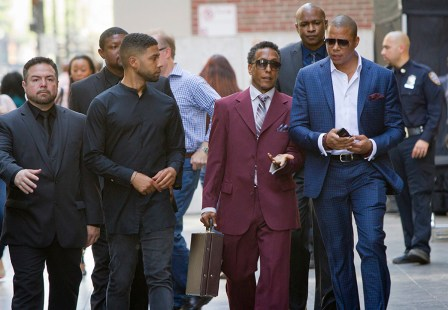 "EMPIRE: Pictured L-R: Jussie Smollett as Jamal Lyon, guest star Andre Royo as Thurston ""Thirsty"" Rawlings and Terrence Howard as Lucious Lyon in the ÒFires Of HeavenÓ episode of EMPIRE airing Wednesday, Oct. 7 (9:00-10:00 PM ET/PT) on FOX. ©2015 Fox Broadcasting Co. Cr: Chuck Hodes/FOX."