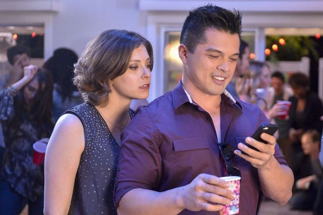 """Crazy Ex-Girlfriend -- """"I Hope Josh Comes to My Party!"""" -- Image Number: CEG103b_198.jpg -- Pictured (L-R): Rachel Bloom as Rebecca and Vincent Rodriguez III as Josh -- Photo: Lisa Rose/The CW -- © 2015 The CW Network, LLC. All rights reserved."""