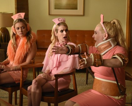 "SCREAM QUEENS: L-R: Billie Lourd, Emma Roberts and Abigail Breslin in the all-new ""Chanel Pour Homme-Icide"" episode of SCREAM QUEENS airing Tuesday, Nov. 1 (9:00-10:00 PM ET/PT) on FOX. Cr: Michael Becker / FOX. © 2016 FOX Broadcasting Co."