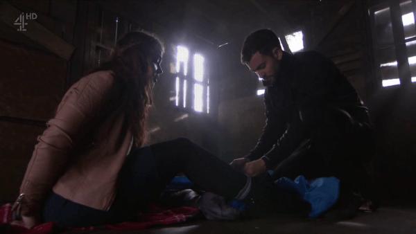 Cameron ties up Celine in the cabin.