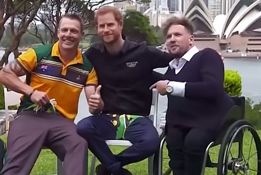 Prince Harry congratulates Dylan Alcott on his Logie win