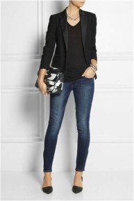 1 black waist length blazer with skinny jeas and high heels casual office outfit source fivediscover.com