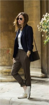 1 waist length blazer with trouser pants and sneaker casual office outfit source naloaded.com