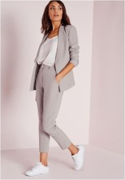 1 waist length blazer with white sneaker casual office outfit source walkinmysneak.blogspot.com